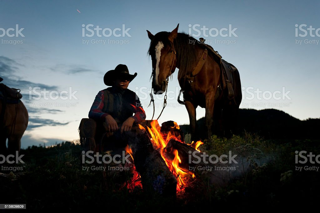 Ranch campfire stock photo