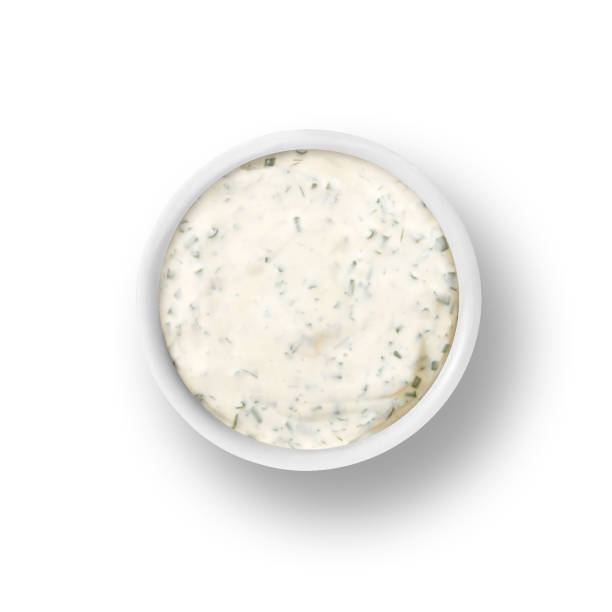 Ranch dressing in cup isolated on white dressing sauce condiment in small cup dish on white background ranch stock pictures, royalty-free photos & images