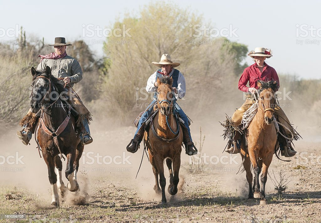 Ranch Family riding horses royalty-free stock photo