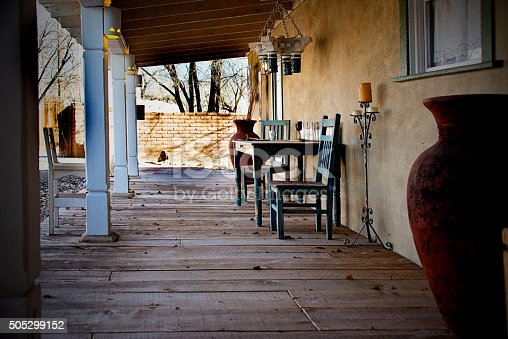 Ranch House Porch, Wood PLank Floor, Southwest Portico. Full Frame