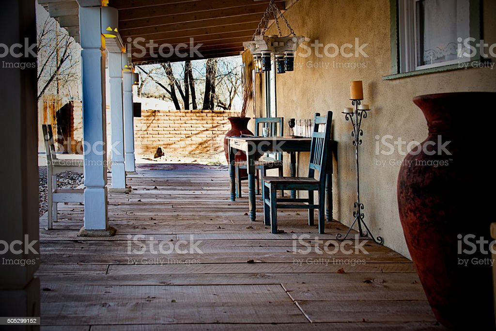Ranch House Porch, Wood PLank Floor, Southwest Portico. Full Frame stock photo