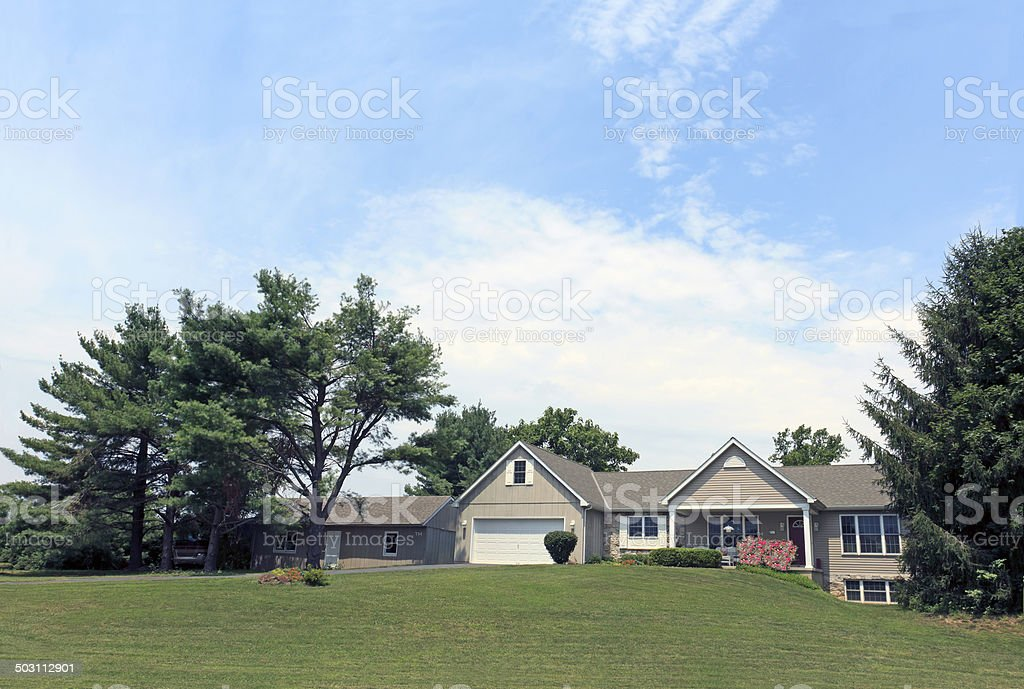 Ranch House with Shed Next Door stock photo