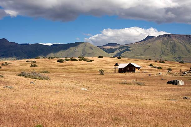 rancho w patagońskiej step - półpustynny zdjęcia i obrazy z banku zdjęć