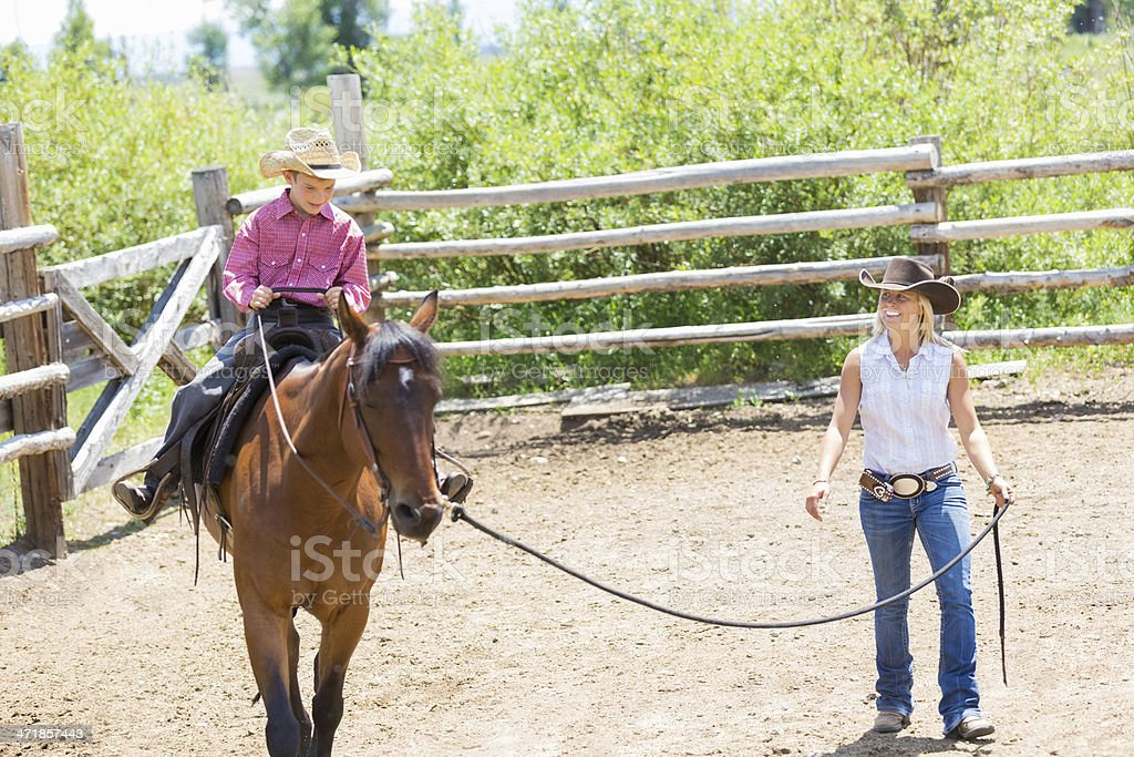 Rancher and young son training horse in corral stock photo