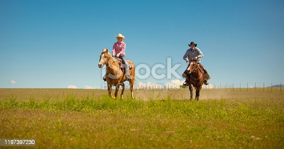 Ranchers riding horses in Utah - USA