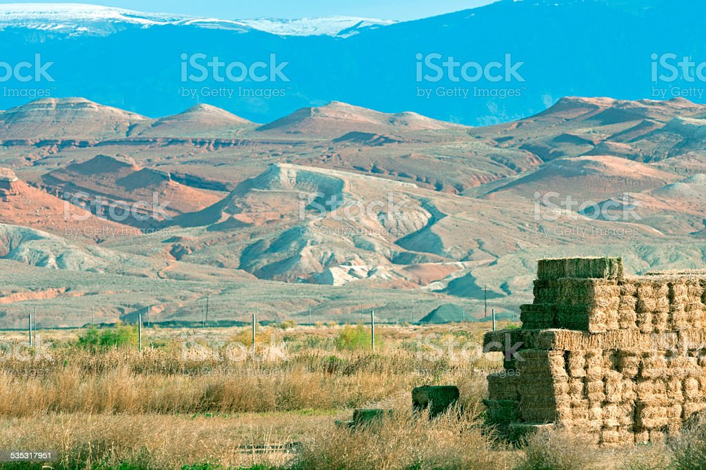 Ranchland and formations below Bighorn Mountains in Wyoming stock photo