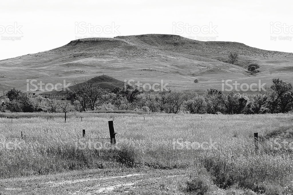Ranchland in black and white royalty-free stock photo