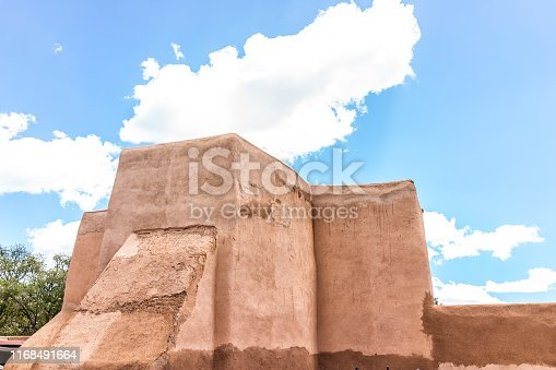 Ranchos de Taos Famous St Francic Plaza and back of San Francisco de Asis church in New Mexico
