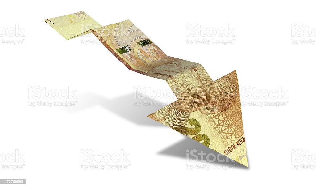 Rand Bank Note Downward Trend Arrow stock photo
