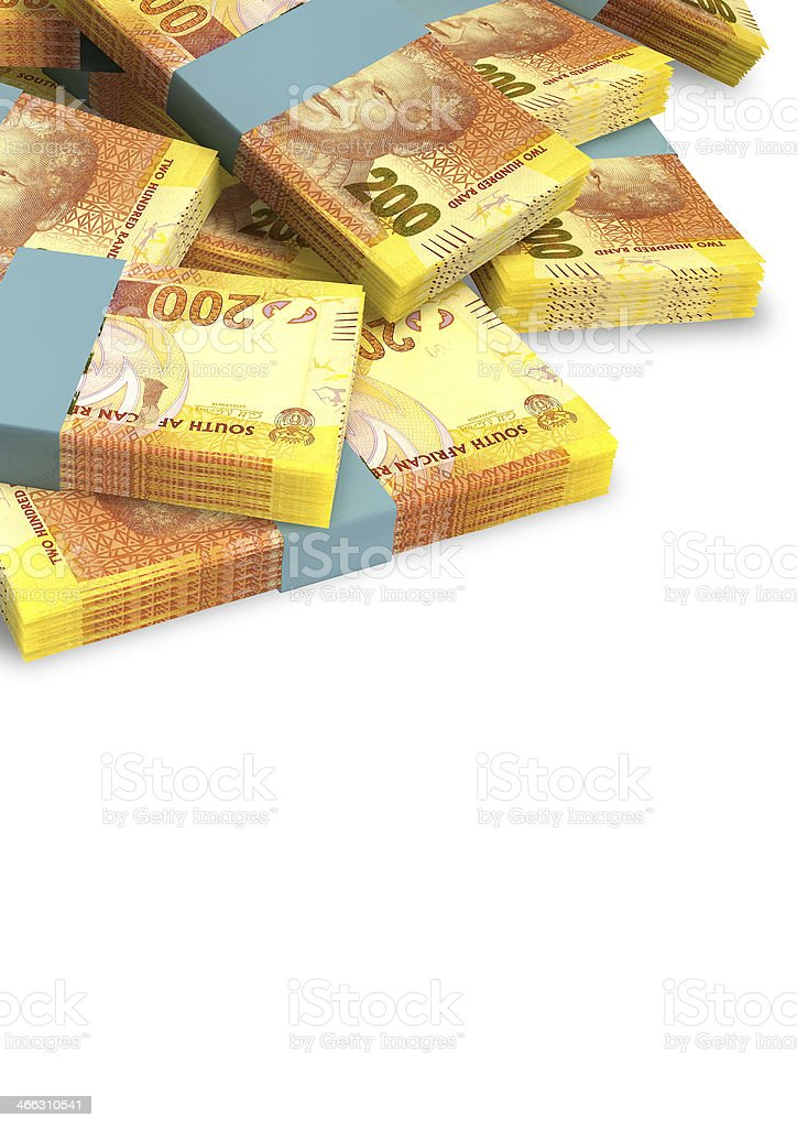 Rand Notes Scattered Pile stock photo