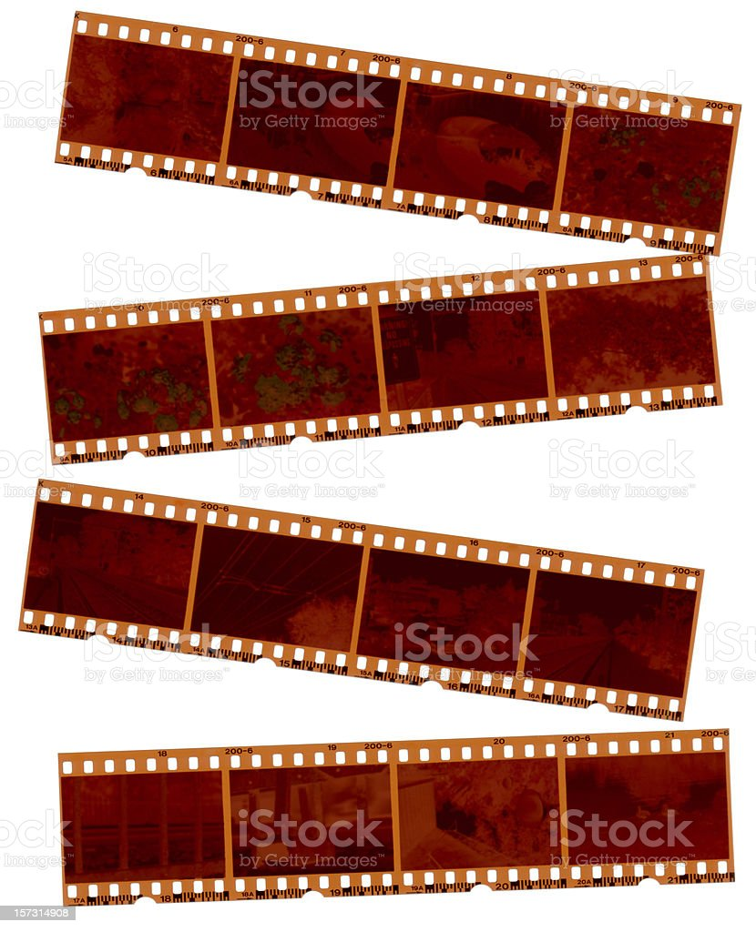 Random 35mm Negative Strips on White stock photo