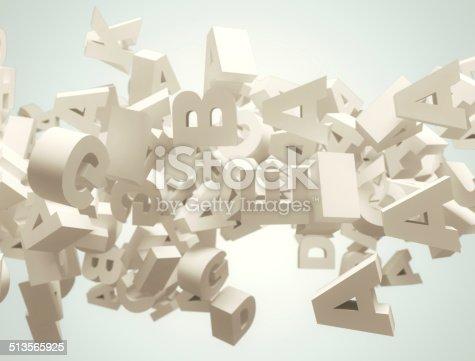 istock Random 3d letters flying 513565925