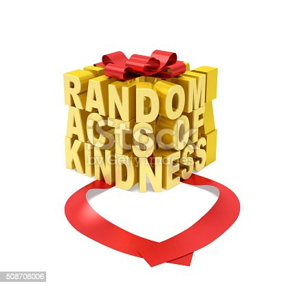 Golden word in the form of gift box with open red ribbon as symbol of random giving (donation) of kindness, love, selfless assistance, altruistic motive