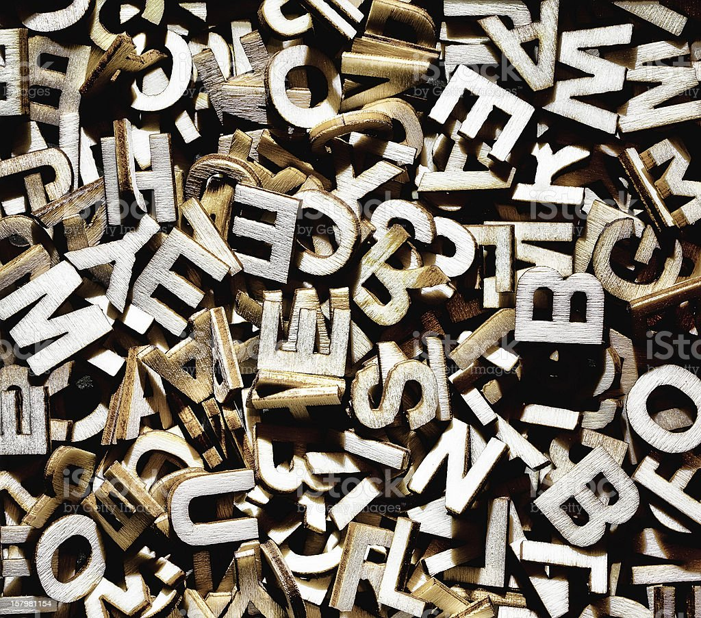 Random alphabet letters in a pile royalty-free stock photo