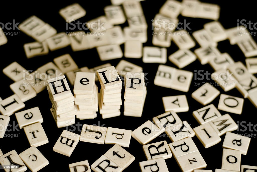 Random Alphabet with the word 'Help' royalty-free stock photo