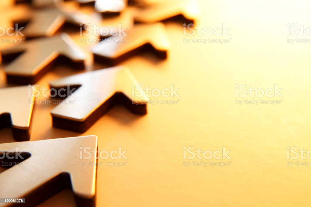 Random Arrows Pointing In Same General Direction Away From Viewer stock photo
