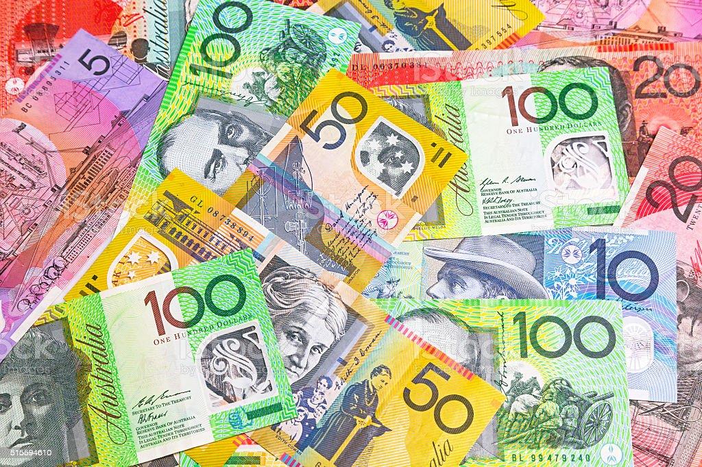 Random Australian dollar banknotes spread out. stock photo