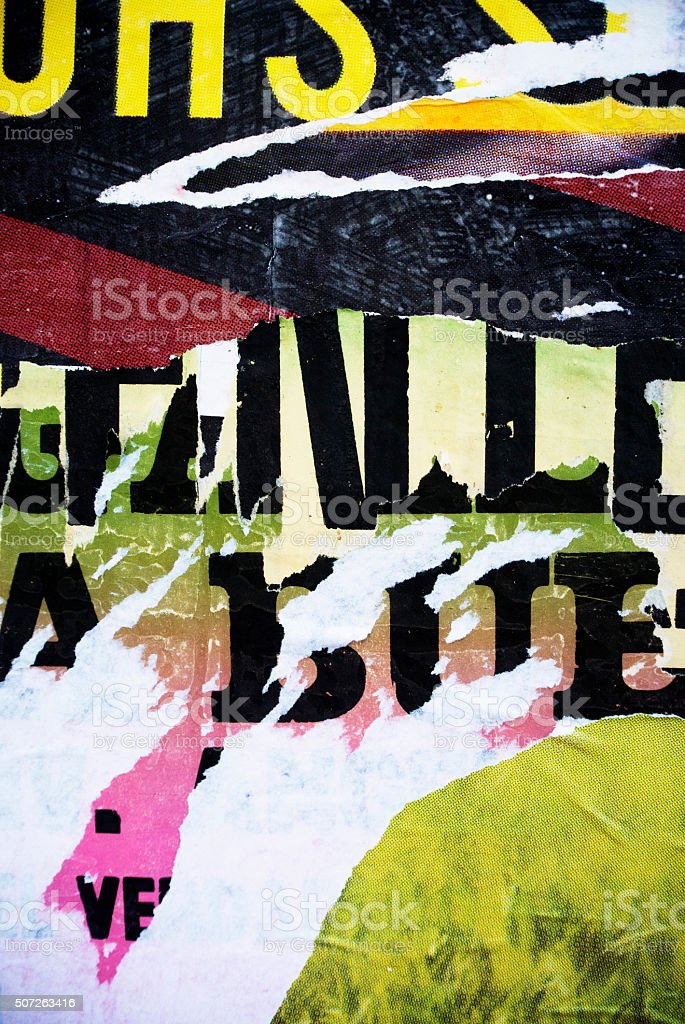 Random background collage paper typography texture on wall stock photo