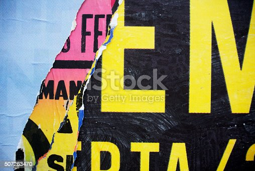 istock Random background collage paper typography texture on wall 507263470