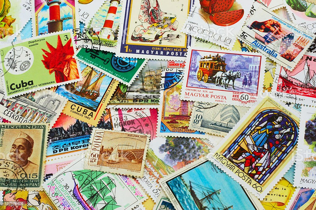 Random Collection of Postal Stamps royalty-free stock photo