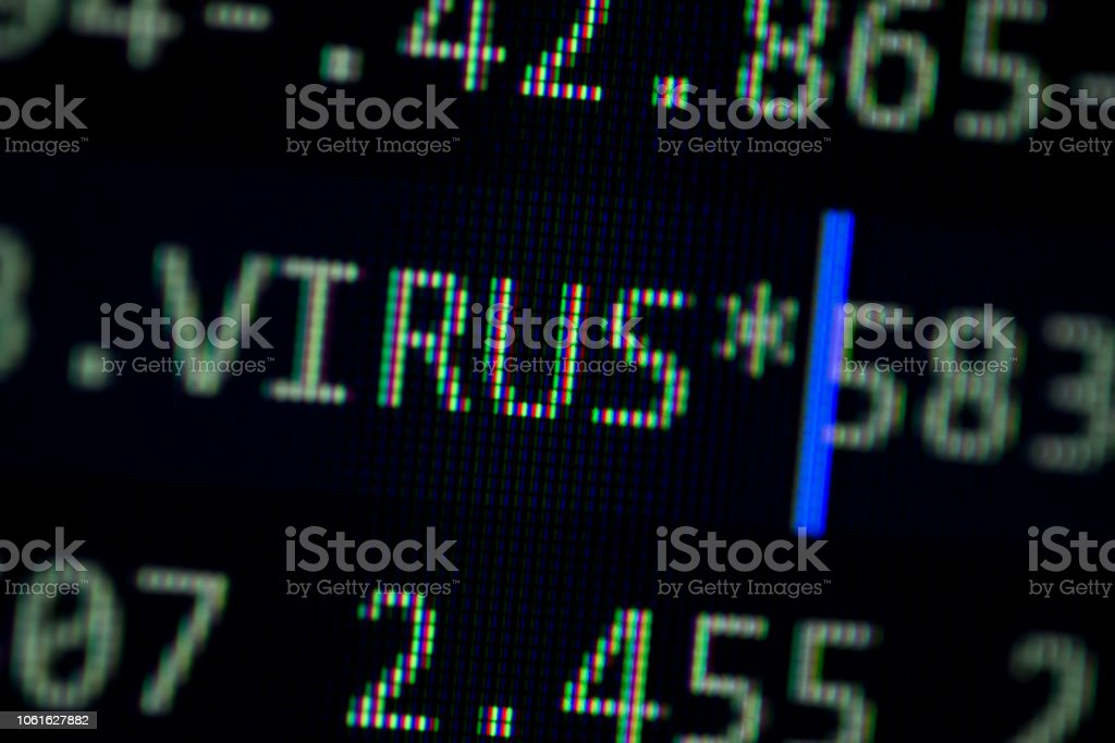 Random Computer Code With Word Virus Stock Photo - Download Image