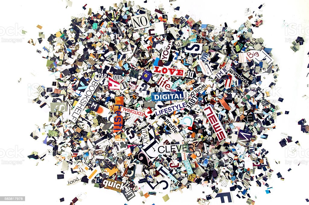 random magazine words and letters stock photo