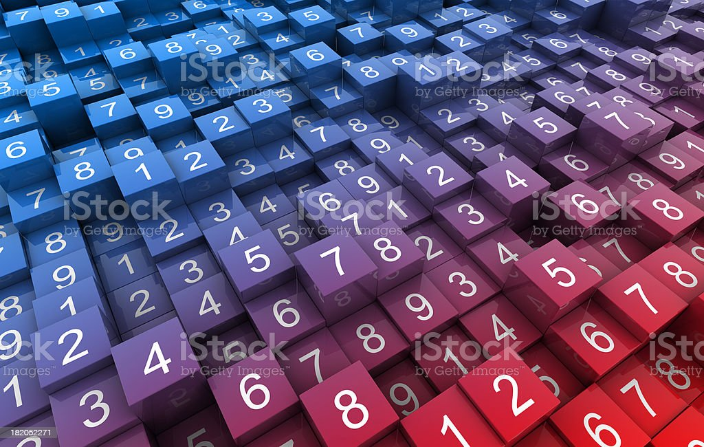 Random numbers on gradient blocks stock photo