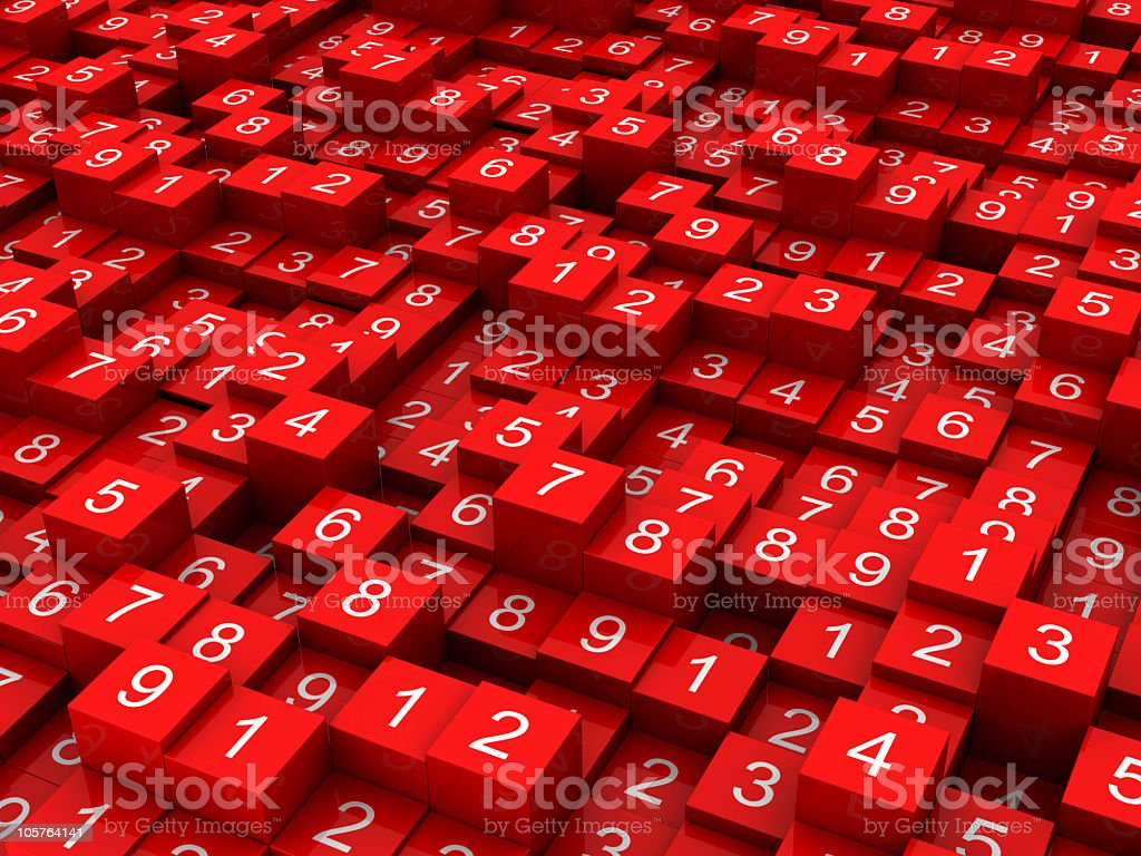 Random numbers on red blocks stock photo