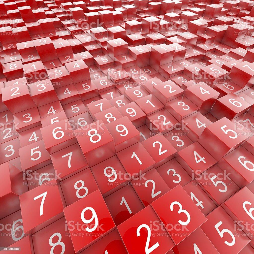 Random numbers on red blocks royalty-free stock photo