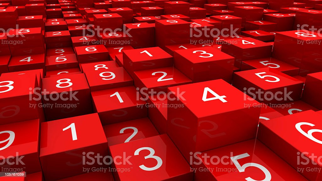 Random numbers on red cubes (close-up view) royalty-free stock photo