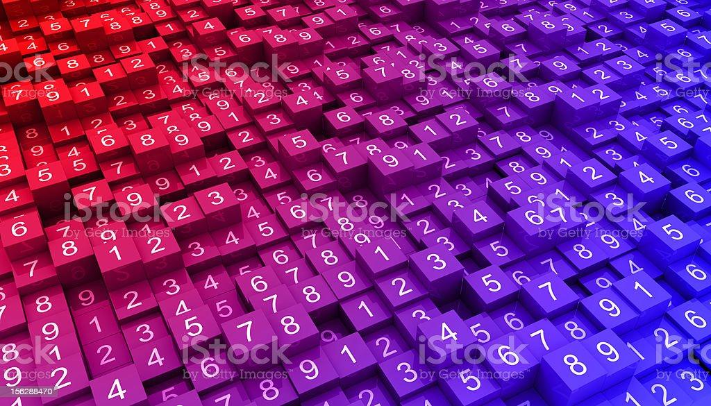 Random numbers with gradient stock photo
