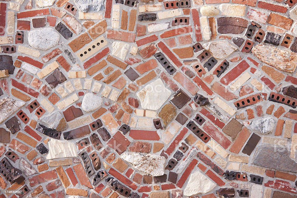 Random Patterns of Brick, Rock, Wall, Design, Whimsical Background royalty-free stock photo