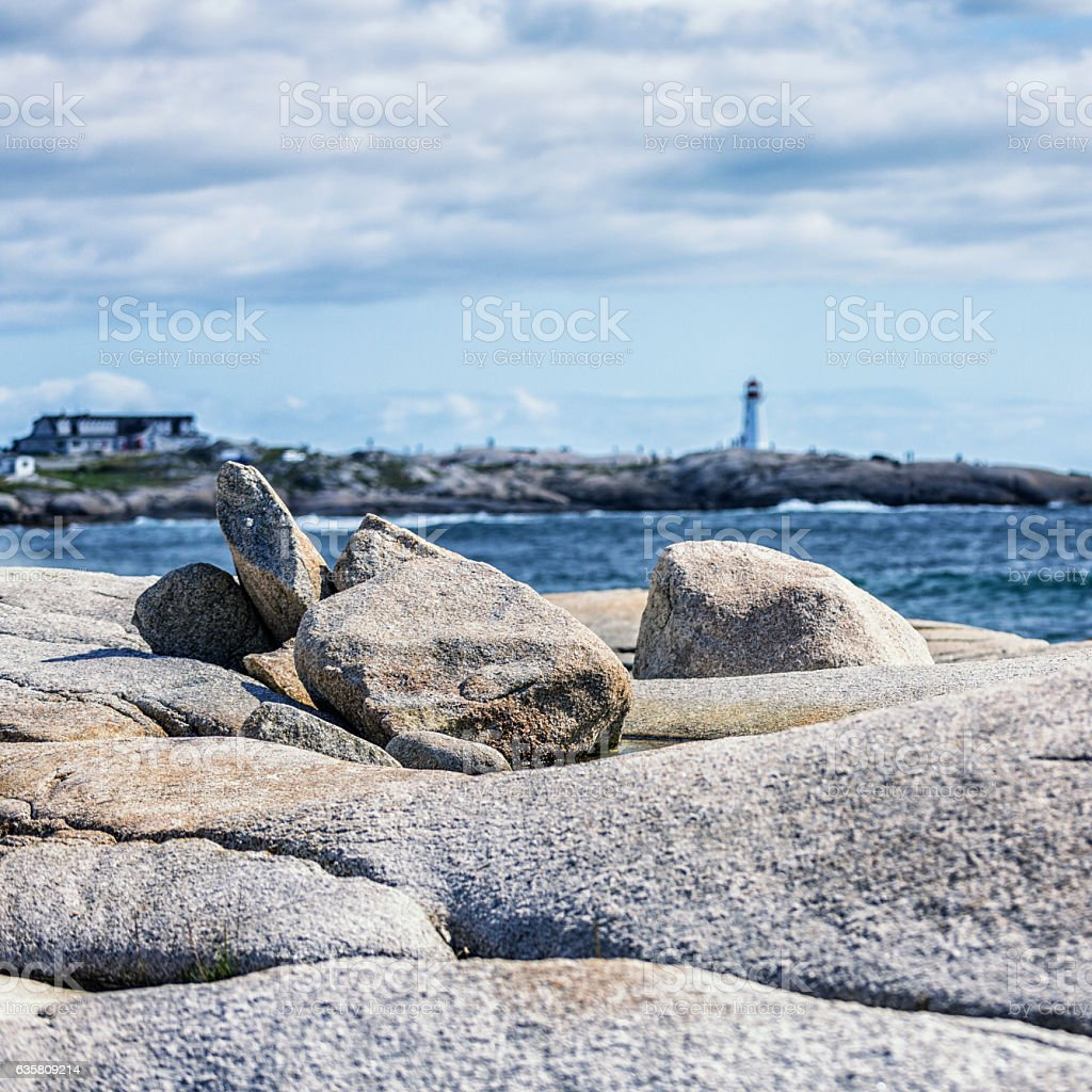 Random Rock Boulders Heaped Along Peggy's Cove Canada Coastline stock photo