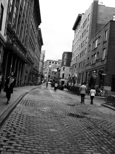 Random Street in Old Montreal, Quebec, Black and White stock photo