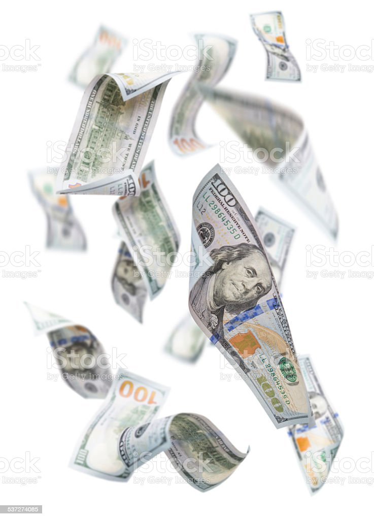 Randomly Falling $100 Bills on White stock photo