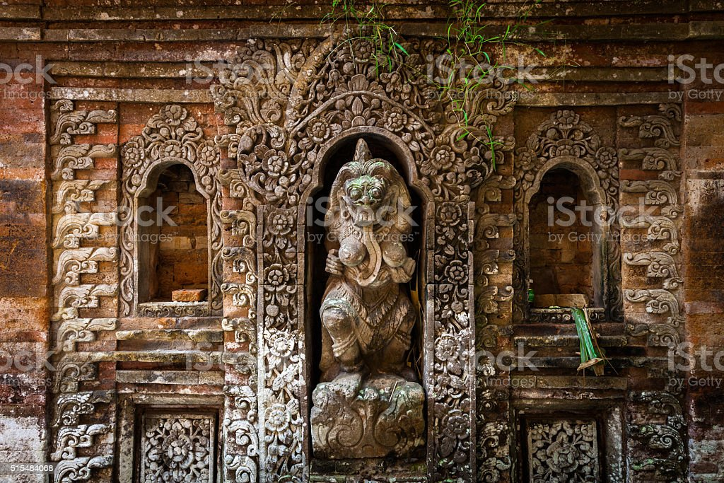 Rangda the demon queen statue in Ubud Palace, Bali royalty-free stock photo