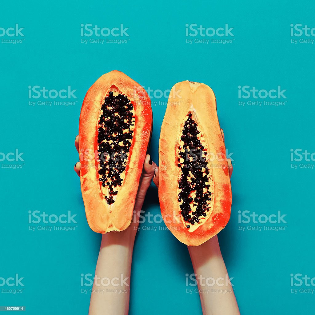 Оrange color in the trend. Papaya fashion style stock photo
