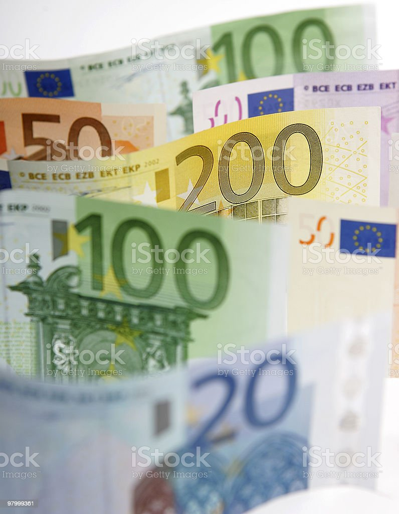 Range of Euro bank notes royalty free stockfoto