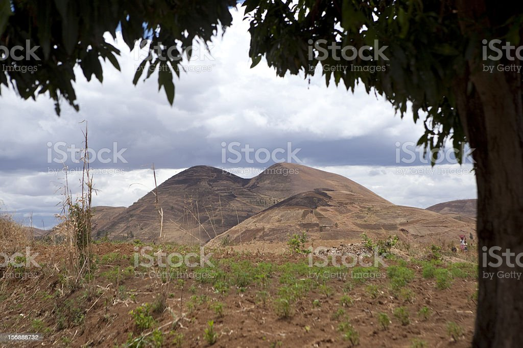 Range of Hills Framed by a Tree, Madagascar stock photo