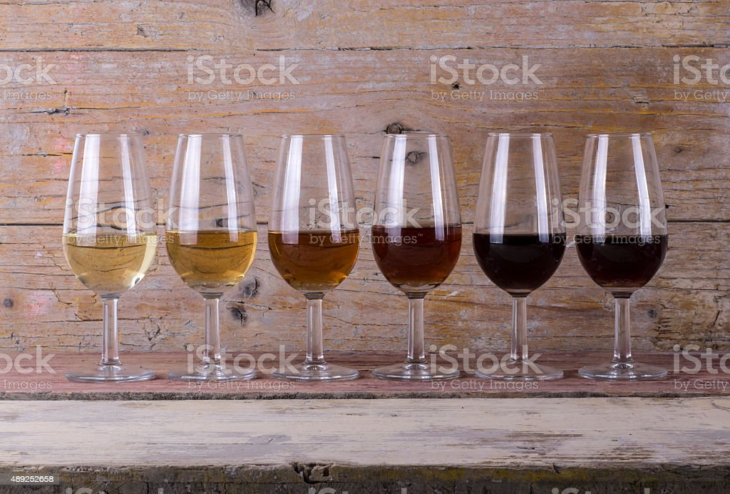 Gama de vinos de Jerez Sherry stock photo