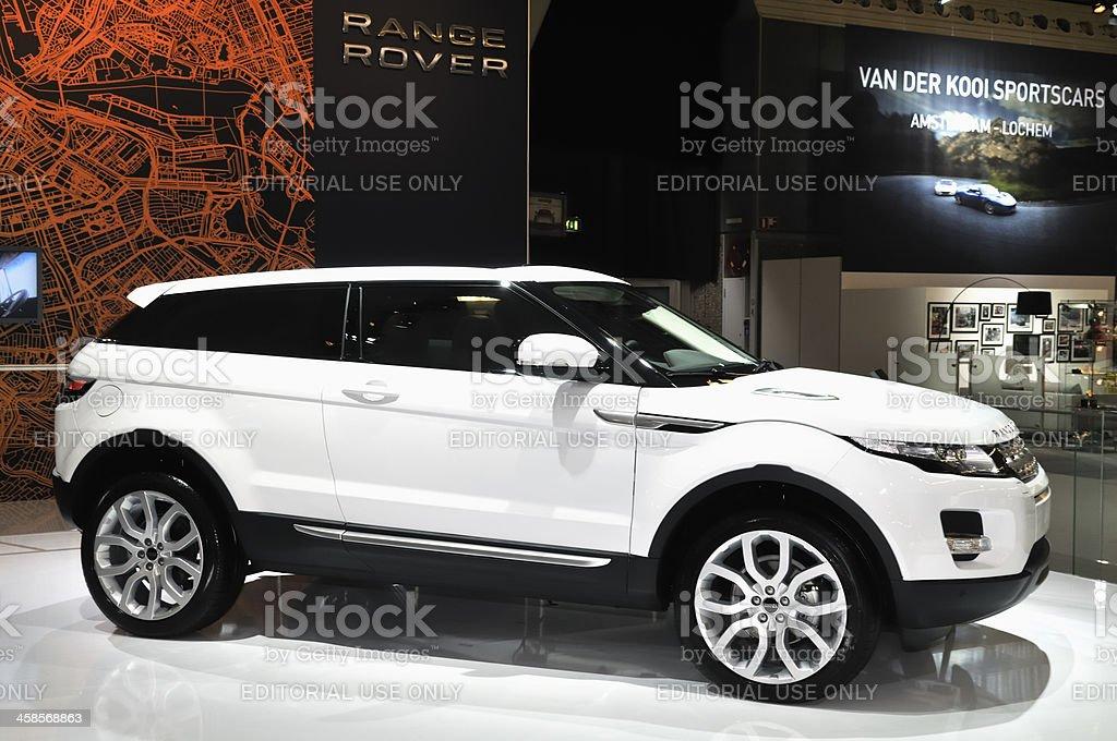 Range Rover Evoque crossover SUV side view stock photo