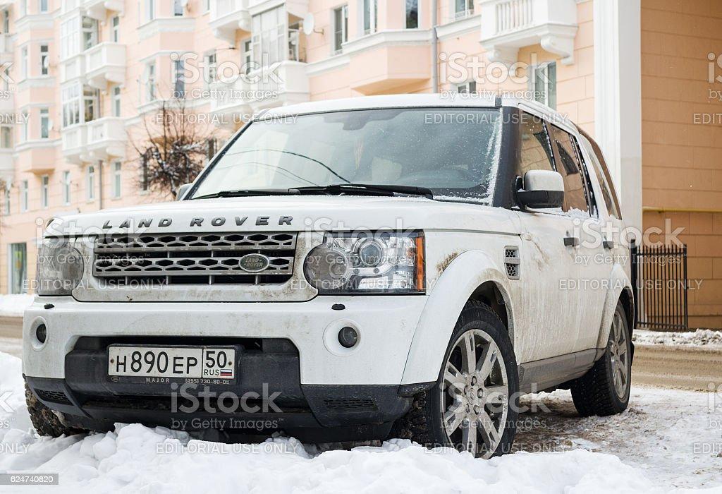Range Rover Land Rover parked in winter Saint-petersburg. Saint-petersburg, Russia - November 12, 2016: Range Rover Land Rover parked in winter street. Car Stock Photo