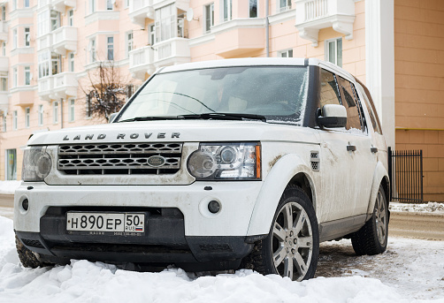 Range Rover Land Rover Parked In Winter Saintpetersburg Stock Photo - Download Image Now