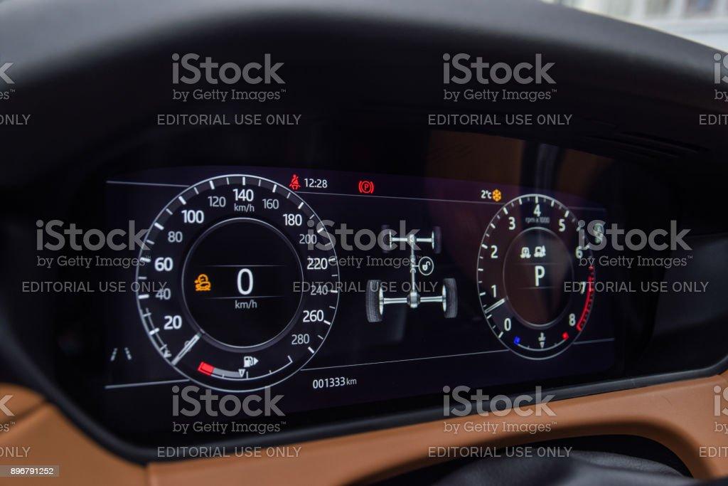 Range Rover Velar's driver display stock photo