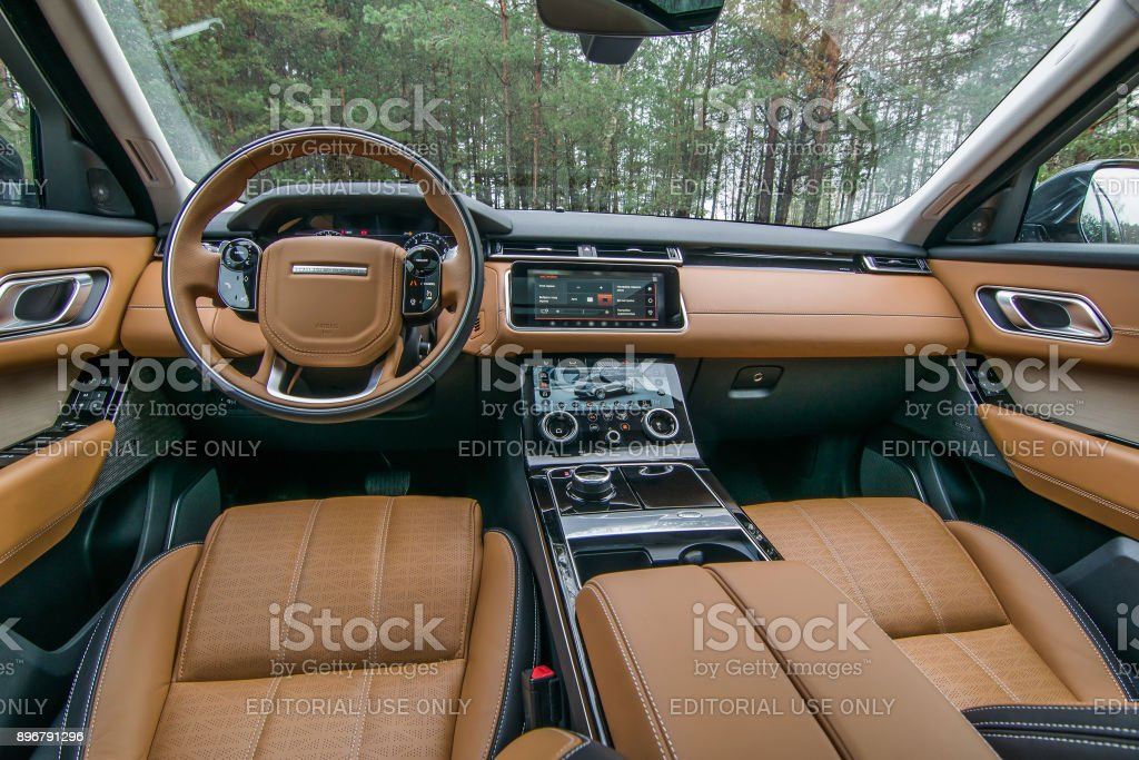 Range Rover Velar's interior stock photo