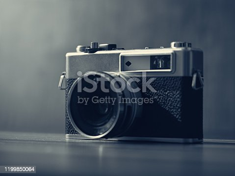 Rangefinder film camera in a moody environment
