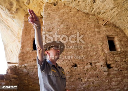 istock Ranger at Long House Ruins, Mesa Verde National Park 458992677