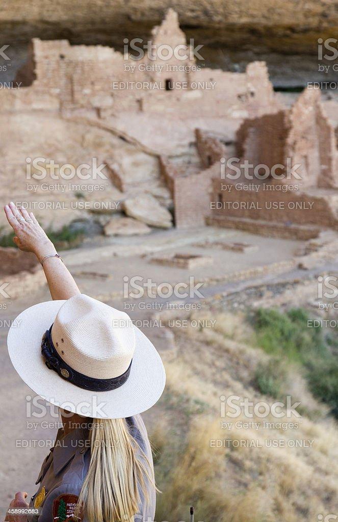 Ranger at Long House Ruins, Mesa Verde National Park stock photo