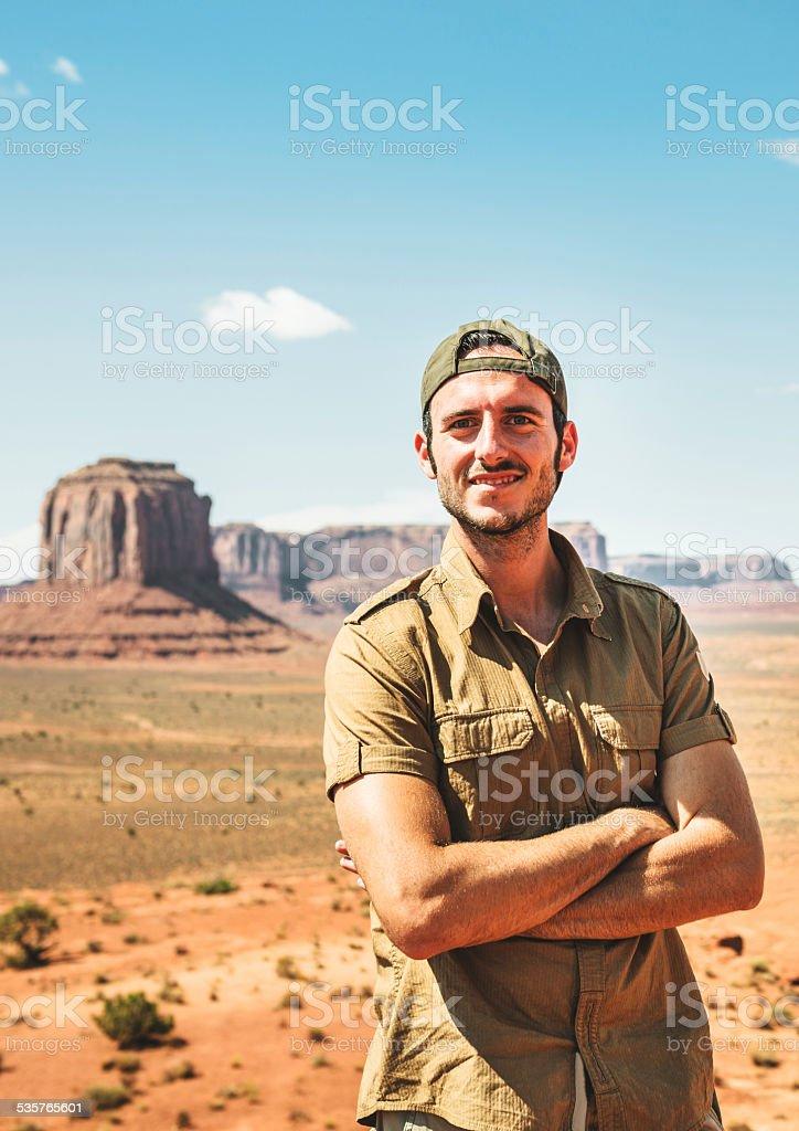 Ranger smiling on the Tribal National Park stock photo