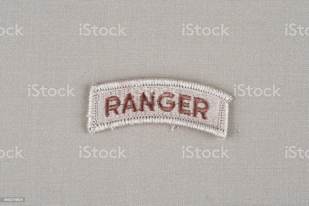 US ARMY ranger tab stock photo